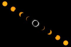 Phases de pleine éclipse solaire photographie stock