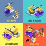 Phases de production de voiture Ligne automatisée de machines Illustrations isométriques industrielles de vecteur illustration de vecteur