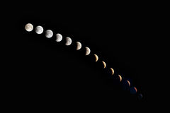 Phases of a lunar Eclipse Royalty Free Stock Photography