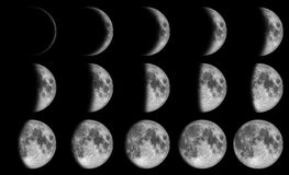 Phases of the moon. 15 day in the drak sky at night time Stock Images