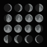 Phases of the Moon Icons Set. Vector Stock Photo