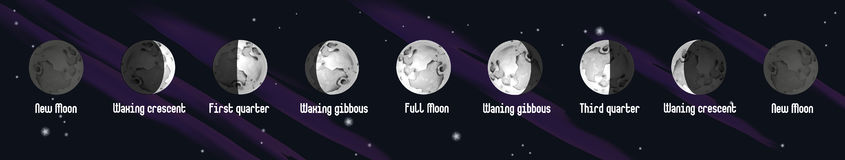 Phases of Moon illustration Stock Images