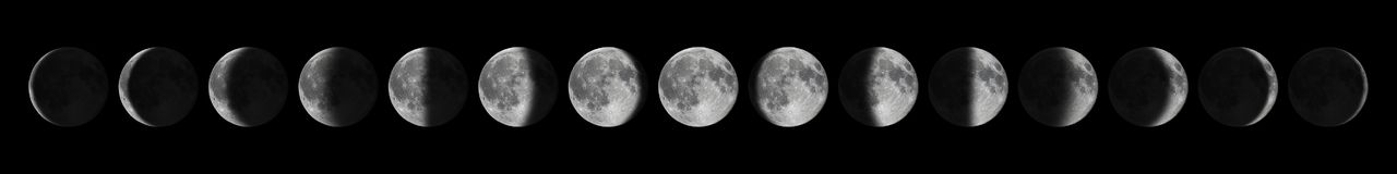 Phases of the Moon. Moon lunar cycle. Moon Stock Images
