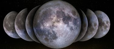 Phases of the Moon. Simultaneous in a row. Waxing crescent, gibbous, first, third quarter,  full moon, waning gibbous, crescent, new moon. The elements of this stock images