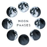 Phases of the Moon, water color collection. vector illustration
