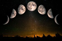 Phases of the Moon. Waxing crescent, first quarter, waxing gibbous, full moon, waning gibbous, third guarter, waning crescent. Forest landscape with stars. The royalty free stock photography