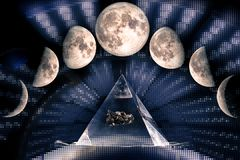 Phases of the Moon. Waxing crescent, first quarter, waxing gibbous, full moon, waning gibbous, third guarter, waning crescent, new moon. Sacred geometry, The stock images