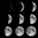 9 phases from new to full Moon, Lunar on dark nigh Stock Photos