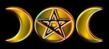 Phases païennes de lune - arc-en-ciel d'or) O ( Photographie stock libre de droits