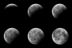 Phases of a partial eclipse of the moon. 6 Phases of a partial eclipse of the moon stock photo