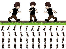 Phases of Step Movements Man in Running Walk Sequence for Game Animation Stock Image
