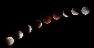 Phases of Supermoon Lunar Eclipse Stock Photos
