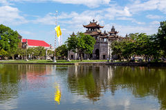 Phat Diem cathedral under blue sky in Ninh Binh, Vietnam Royalty Free Stock Images