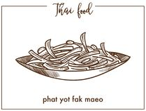 Phat yot fak maeo in bowl from Thai food. Young chayote shoots and leaves stir-fried with tasty oyster sauce or steamed isolated cartoon monochrome flat vector royalty free illustration
