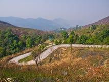 从Phatang小山,清莱,泰国的路视图 库存照片
