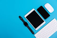 Top view of Apple watch, iPad, iPhone X, magic mouse and keybard. PHATTHALUNG, THAILAND - March 1, 2019 : Top view of Apple watch, iPad, iPhone X, magic mouse stock photos