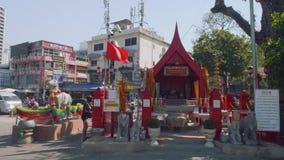 Phatthaya, Thailand - circa January 2018: View of samoraphum Thai little spirit house stock video footage