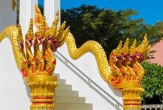 Phaya Naga bewaakt de Tempel Wat in Thailand royalty-vrije stock foto's