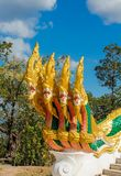 Phaya Naga bewaakt de Tempel Wat in Thailand stock foto's