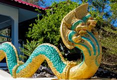 Phaya Naga guard the Temple Wat in Thailand. Phaya Naga guarding the Temple Wat in Thailand. Nagas asian mythological guard statue in Thai Buddhist temple royalty free stock image