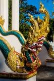 Phaya Naga smoka węża strażnik w Świątynnym Wacie w Tajlandia obraz stock
