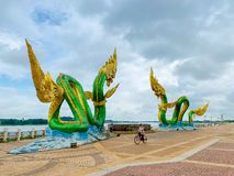 Phayanak or Naga king of snake Statue in Nong Khai, Thailand stock photo