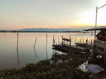 Phayao lake in Thailand. Fill of the water and beautiful sky Stock Photography
