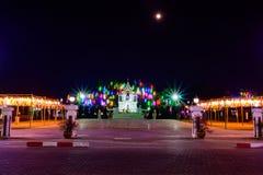 PHAYAO, THAILAND - December 11, 2019 : King Ngam Mueang Monument with Decorative Lanna Lanterns beside Kwan Phayao Lake