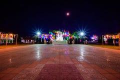 PHAYAO, THAILAND - December 11, 2019 : King Ngam Mueang Monument with Decorative lights at Kwan Phayao Lake