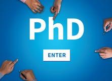 PhD哲学博士程度教育毕业 库存照片
