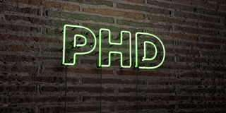 PHD -Realistic Neon Sign on Brick Wall background - 3D rendered royalty free stock image. Can be used for online banner ads and direct mailers Stock Images