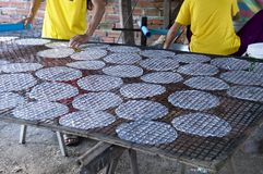 Pheam Ek Village Cambodia, making rice paper, laying the paper out to to dry royalty free stock image