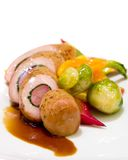 Pheasant and Duck with Brussel Sprouts Royalty Free Stock Images
