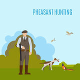 Pheasant hunting illustration Royalty Free Stock Photography