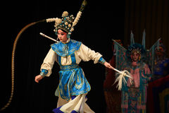 """The pheasant tail-Peking Opera"""" Women Generals of Yang Family"""". This opera tells a patriotic story how does an old woman of a hundred years old go Royalty Free Stock Images"""