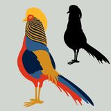 Pheasant vector illustration flat style profile side silhouette stock illustration