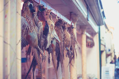 Pheasants hanging outside butcher's shop Royalty Free Stock Photos