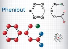 Phenibut is a central nervous system depressant with anxiolytic. And sedative effects. Structural chemical formula and molecule model. Sheet of paper in a cage Stock Images