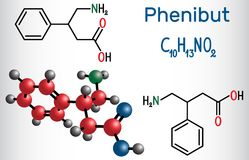 Phenibut is a central nervous system depressant with anxiolytic. And sedative effects. Structural chemical formula and molecule model. Vector illustration Stock Photos