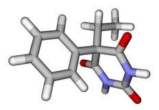 Phenobarbital (epilepsy drug). 3D molecular structure Royalty Free Stock Photos