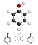 Phenol-Struktur, Formel lokalisiert auf weißem Hintergrund Auch im corel abgehobenen Betrag lizenzfreie stockfotografie