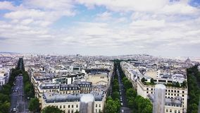 Birdview of Paris from the Arc de Triomphe. A phenomenal view of Paris, France Royalty Free Stock Images
