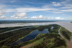 Phenomenon of Amazon - meeting of the waters. The meeting of the waters means the fusion of the black and the white water from Rio Negro and Amazon. Seen from