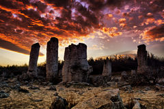 Phenomenon rock formations. Upright stone. Phenomenon rock formations in Bulgaria around Varna - Pobiti kamani. National tourism place. Upright stone. Earth Royalty Free Stock Image