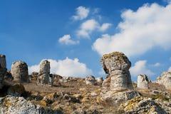 Phenomenon rock formations. Upright stone. Phenomenon rock formations in Bulgaria around Beloslav - Pobiti kamani. National tourism place. Upright stone. Earth Stock Photography