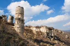 Phenomenon rock formations. Upright stone. Phenomenon rock formations in Bulgaria around Beloslav - Pobiti kamani. National tourism place. Upright stone. Earth Stock Photo