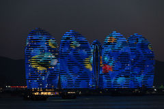Pheonix Island Sanya, illuminated buildings. Unique modern design. Sanya is the millionaires paradise, It is located on the Island of Hainan and boasts some Stock Photos