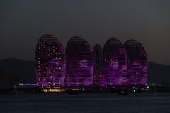 Pheonix Island Sanya, illuminated buildings. Unique modern design stock photography