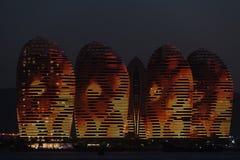 Pheonix Island Sanya, illuminated buildings. Unique modern design Royalty Free Stock Photo