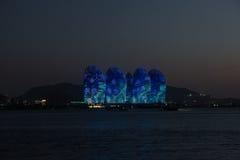 Pheonix Island Sanya, illuminated buildings. Unique modern design Stock Photo